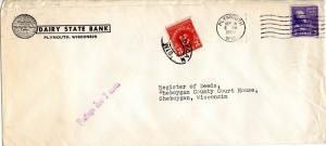 U.S. Scott 842 Prexie Coil on Postage Due Double Weight 1st Class Bank Ad Cover