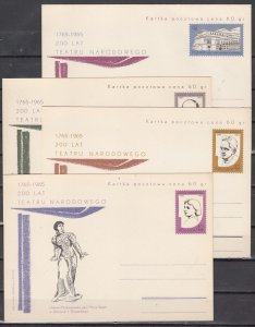 Poland, 1965 issue. 200th Anniv. Personalities of the Theater. 4 Postal Cards. ^