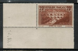 France #254a (Maury #262) Very fine Never Hinged Lower Left Margin **Cert.**