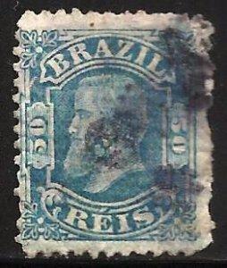 Brazil 1881 Scott# 79 Used (thin, pin hole)