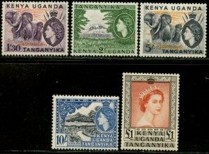 KUT Sc#113-117 SG#176-180 1954 QEII Defins Top Values Mint Hinged