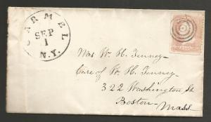 UNITED STATES 1861  3c on COVER CARMEL NY to BOSTON VARITY   Sc 64b