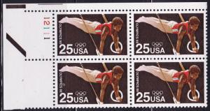 United States 1988 Summer Olympics, Seoul Korea Plate Number Block (4) VF/NH