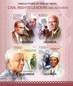 UGANDA 2012 MANDELA-LUTHER KING-SOJOURNER TRUTH-PHILIP RANDOLPH Sheetlet (4) MNH