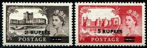 HERRICKSTAMP OMAN Sc.# 63-64 1957 Queen Elizabeth II. Scott $220.00