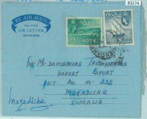83274 -  ADEN - POSTAL HISTORY -  AEROGRAMME to SOMALIA   1957
