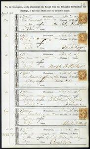 1867 Bank ledger page with R6c revenue stamps handstamp cancels L16