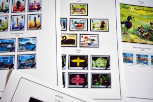 COLOR PRINTED JERSEY 1958-2010 STAMP ALBUM PAGES (198 illustrated pages)