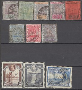 COLLECTION LOT OF #1425 BRITISH GUIANA 11 STAMPS 1889+