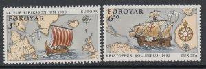 Faroe Islands 236-237 Sailing Ships Maps MNH VF