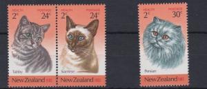 NEW ZEALAND  1983  CATS    SET   OF 3   HEALTH  MNH
