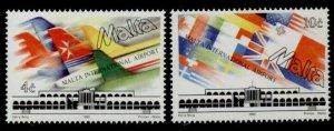 Malta 795-6 MNH Aircraft, International Airport, Flags