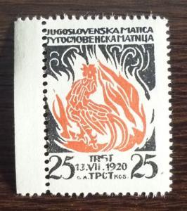 1920 TRIESTE-SHS-YUGOSLAVIA-RARE PROPAGANDA STAMP RR!! italy slovenia croatia J6