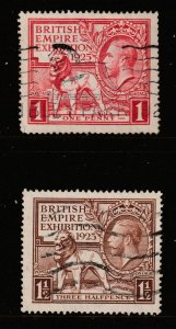 Great Britain the used KGV 1925 Exhibition pair