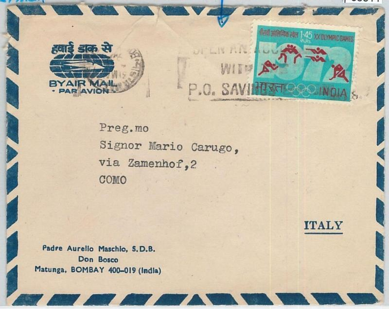 66511 - INDIA - POSTAL HISTORY - COVER to ITALY:  Savings Banking  1973
