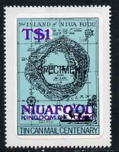 Tonga - Niuafo'ou 1983 Map 1p on 2p self-adhesive opt'd S...