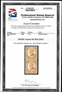 605 Mint,OG,NH... Pair... PSE Graded 98 Superb... SMQ $275.00... Only 2 higher