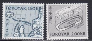 Faroe Islands # 81-82, Europa, Viking Routes, Foundation, NH, 1/2 Cat.