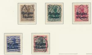 Belgium, German Occupation Stamps Scott #N1 To N5, Used - Free U.S. Shipping,...