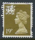 Great Britain Wales  SG W70 SC# WMMH58 Used  19p Machin see scan