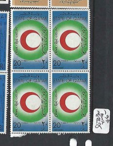 QATAR  (P2209B)  RED CRESCENT , RED CROSS  SG  723  BL OF 4   MNH
