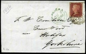 C8(4) 1856 1d brown-rose Plate 36 (AD) London to Halifax