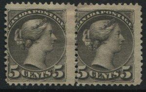 1888 Canada QV 5 cents gray Small Queen unused pair no gum