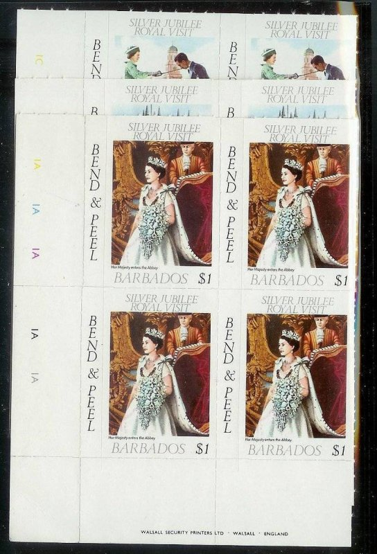 BARBADOS Sc#467-469 Complete Mint Never Hinged PLATE BLOCK Set