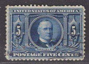 US Stamp #326 5c Dark Blue McKinley USED SCV $22.50