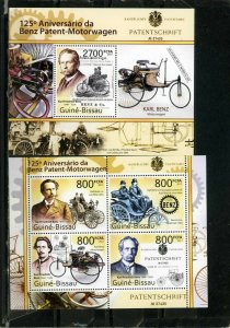 GUINEA BISSAU 2011 OLD CARS/BENZ SHEET OF 4 STAMPS & S/S MNH