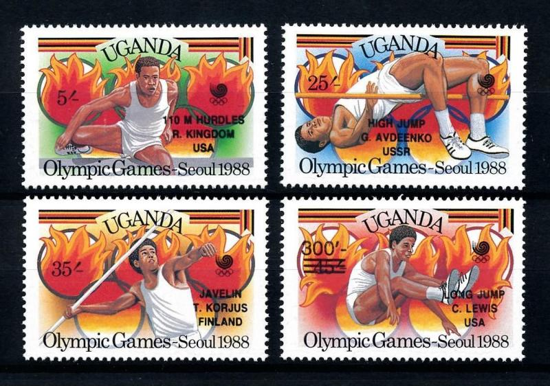 [92331] Uganda 1989 Olympic Games Seoul Athletics with OVP MNH