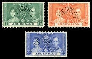 Ascension 1937 KGVI Coronation SPECIMEN set complete MLH. SG 35s-37s.