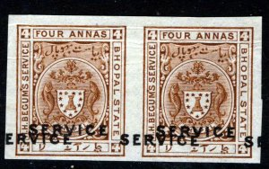 BHOPAL STATE INDIA 1908 OFFICIAL 4 As. PAIR WITH DOUBLED OVERPRINT SG O308b MINT