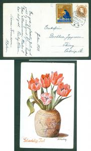 Denmark. Christmas Card 1930 With Seal + 10 Ore King. Varde. Flowers. Adr: