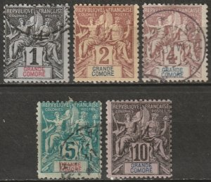 Grand Comoro 1897 Sc 1-5 set low values used/MH* small thins