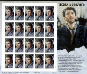 SCOTT #4197 LEGENDS OF HOLLYWOOD - JAMES STUART 20 PERFORATED STAMP SHEET