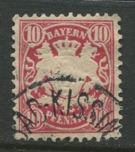 Bavaria -Scott 50 - Coat of Arms -1881 - FU - Single 10pf Stamp
