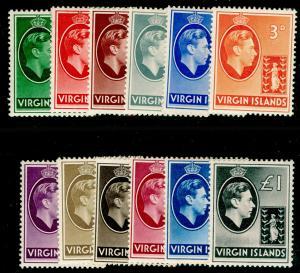 BRITISH VIRGIN ISLANDS Sg110a, 121, 1938-47 SET, M MINT. Cat £75.