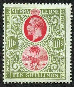 Sierra Leone SG146 KGV 10/- wmk Mult Script M/M