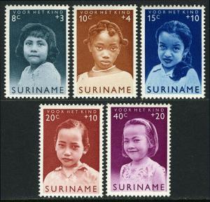 Surinam B94-B98, MNH. Child welfare. Girls: Indonesian, Caucasian, Negro, 1963