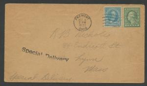 #563 11c 1922 ON SPECIAL DELIVERY FDC FREMONT, CA VF+ CV $3,750 BU6454 HS356163