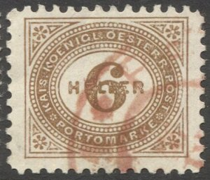 AUSTRIA 1899  Sc J27 6h Perf Postage Due Used VF, Scarce red PRAG cancel
