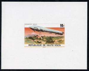 Upper Volta 1976 Zeppelin Airships 10f imperf deluxe proo...