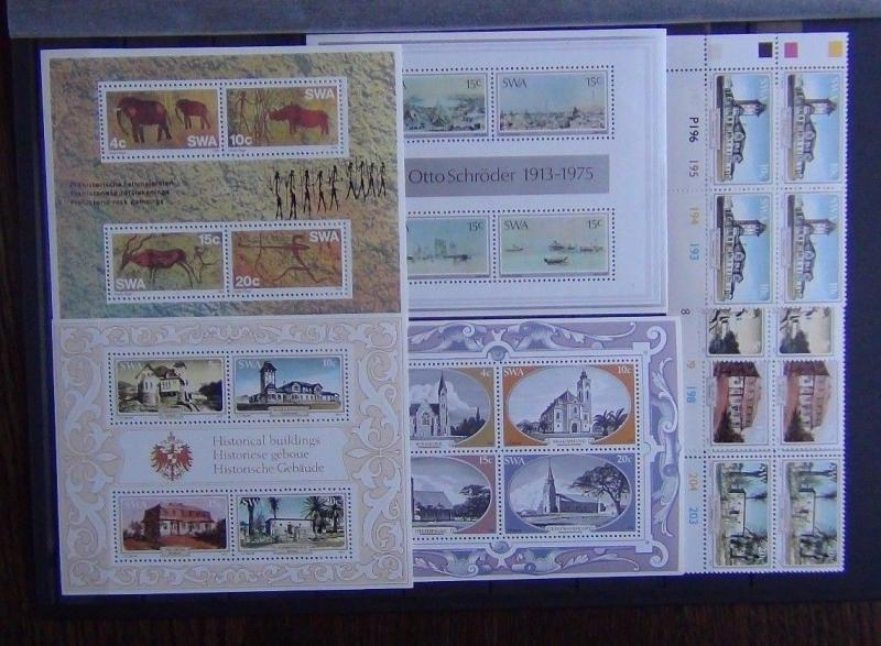 South West Africa 1975 Painter 1976 Paintings 1977 Houses Block x 4 + M/S MNH