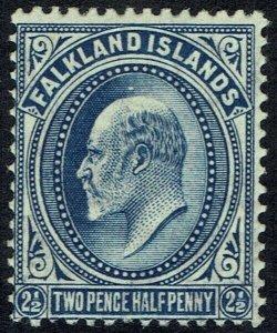 FALKLAND ISLANDS 1904 KEVII 21/2D DEEP BLUE MNH ** RARE SHADE WITH CERTIFICATE