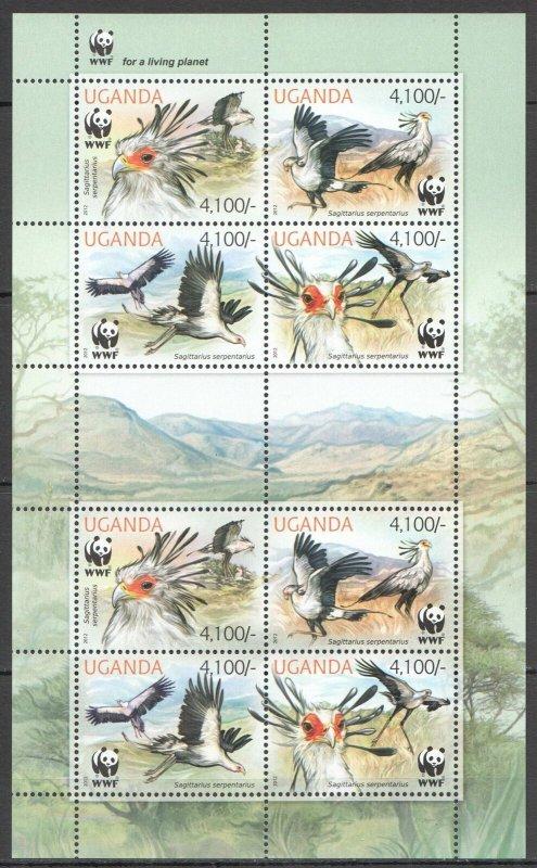 NW0447 2012 UGANDA WWF SECRETARYBIRD BIRDS FAUNA #3000-3003 KB MNH