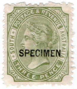 (I.B) Australia Postal : South Australia 3d Sage Green (SG 183) inv watermark