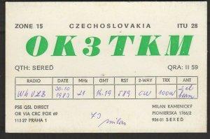 QSL CARD Milan Kamenicky,1983,OK3TKM,Czechoslovakia(Q 4431)