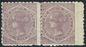 NEW SOUTH WALES 1882 QV 6D MNH ** PAIR WMK CROWN/NSW SG TYPE W40 PERF 10