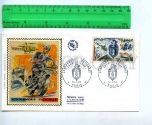 242314 FRANCE 1970 year gendarmerie POLICE motorcycle FDC